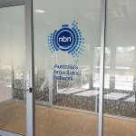 NBN 3D logo onto glass