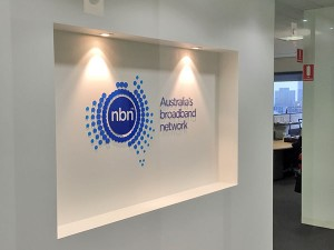 NBN 3D logo inset in alcove